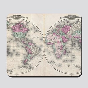 Vintage Map of The World (1862) Mousepad