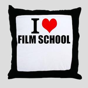 I Love Film School Throw Pillow