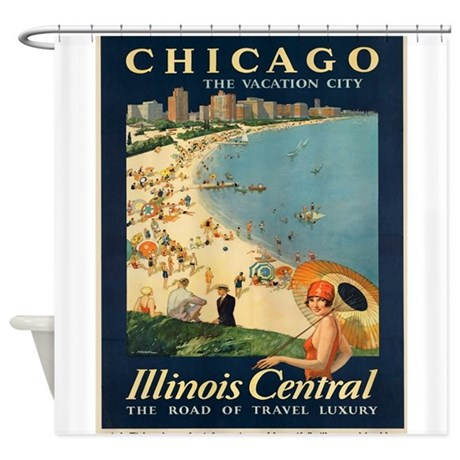 Vintage Poster   Chicago Shower Curtain
