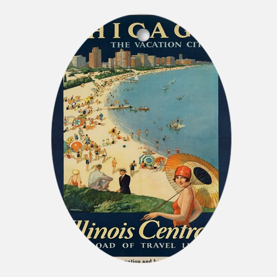 Vintage poster - Chicago Oval Ornament