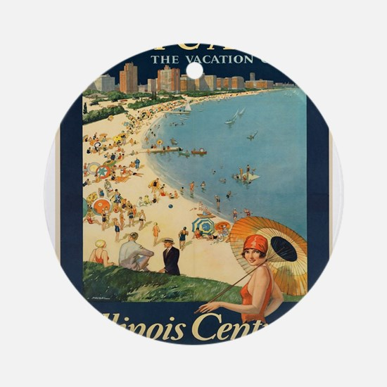 Vintage poster - Chicago Round Ornament