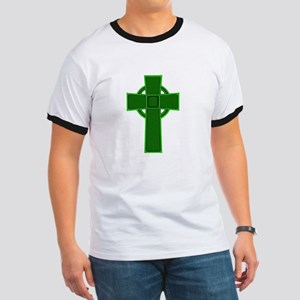 Green Celtic Cross Ringer T