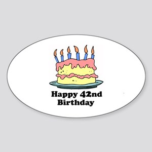 Happy 42nd Birthday Oval Sticker