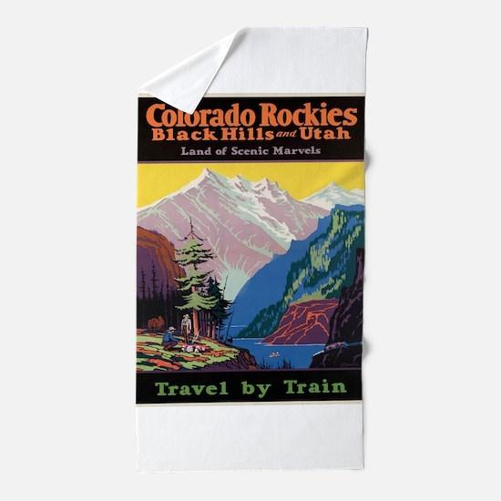 Vintage poster - Colorado Rocky Mounta Beach Towel