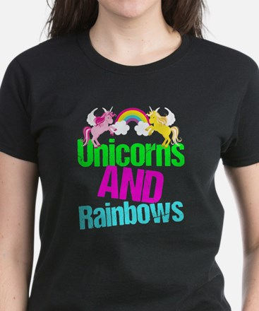 Unicorns Rainbow Cute Women's Dark T-Shirt