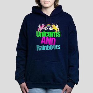 Unicorns Rainbow Cute Women's Hooded Sweatshirt