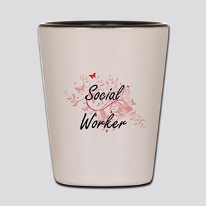 Social Worker Artistic Job Design with Shot Glass