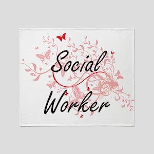 Social Worker Artistic Job Design wi Throw Blanket