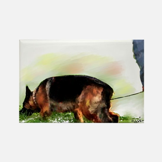 German Shepherd Tracking Rectangle Magnet