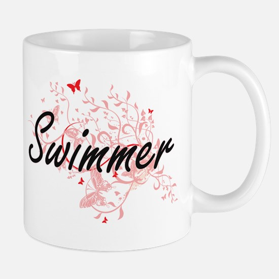 Swimmer Artistic Job Design with Butterflies Mugs