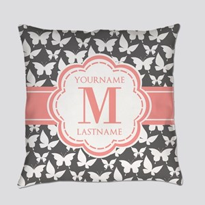 Gray Butterflies, Coral Monogram Everyday Pillow