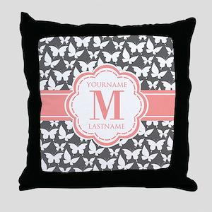 Gray Butterflies, Coral Monogram Throw Pillow
