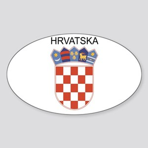 Croatia Arms with Name Oval Sticker