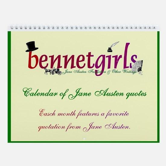 Bennetgirls Jane Austen quotes Wall Calendar