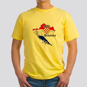 Croatia Flag Map Yellow T-Shirt