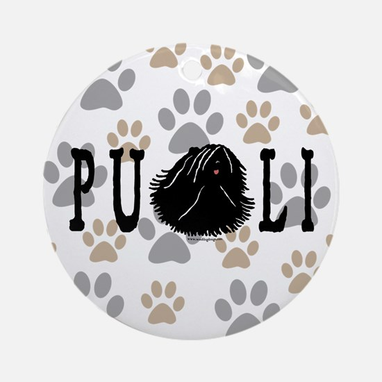 Dread Text Puli Dog Ornament (Round)