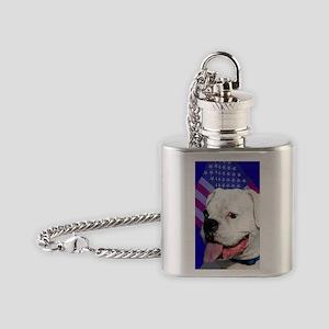 Patriotic Boxer Dog Flask Necklace