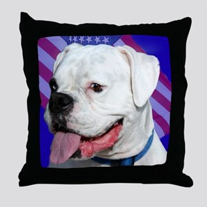 Patriotic Boxer Dog Throw Pillow