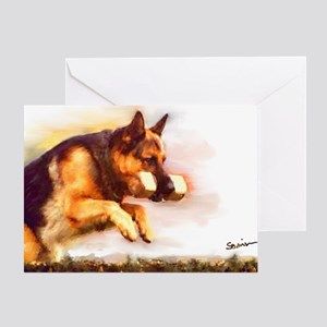 German Shepherd Jumping Greeting Card