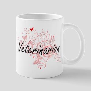 Veterinarian Artistic Job Design with Butterf Mugs
