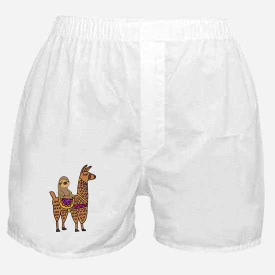 Cute Sloth Riding Llama Boxer Shorts