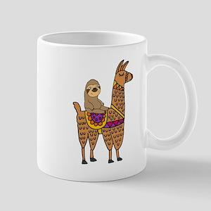 Cute Sloth Riding Llama Mugs