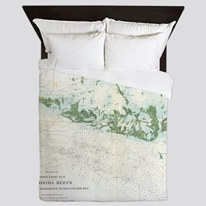 Vintage Map of The Florida Keys (1859) Queen Duvet