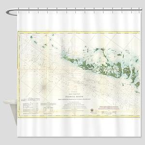 Vintage Map of The Florida Keys (18 Shower Curtain