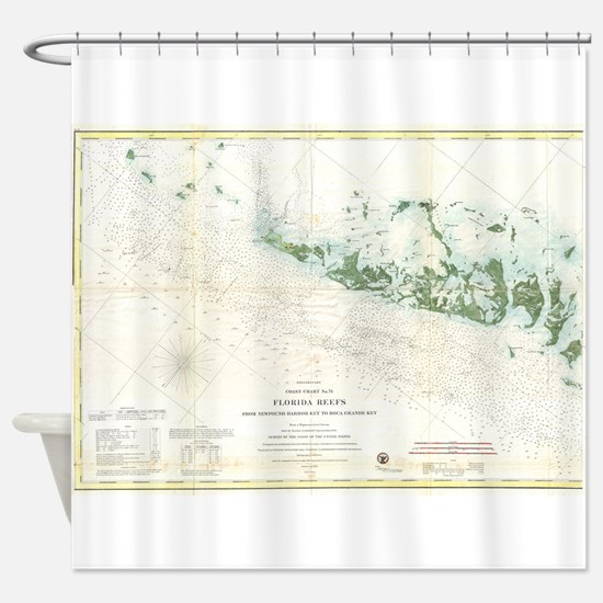 Vintage Map of The Florida Keys (18 Shower Curtain