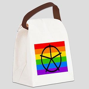 Fat Fetish Symbol on Rainbow Flag Canvas Lunch Bag