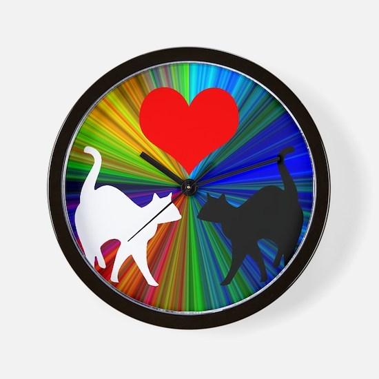 RAINBOW LOVE CATS Wall Clock