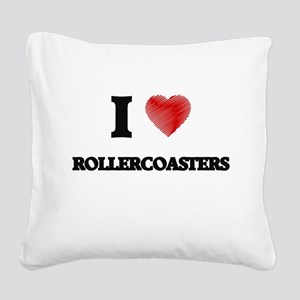 I Love Rollercoasters Square Canvas Pillow