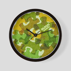 Autism Awareness Puzzles Camo Wall Clock