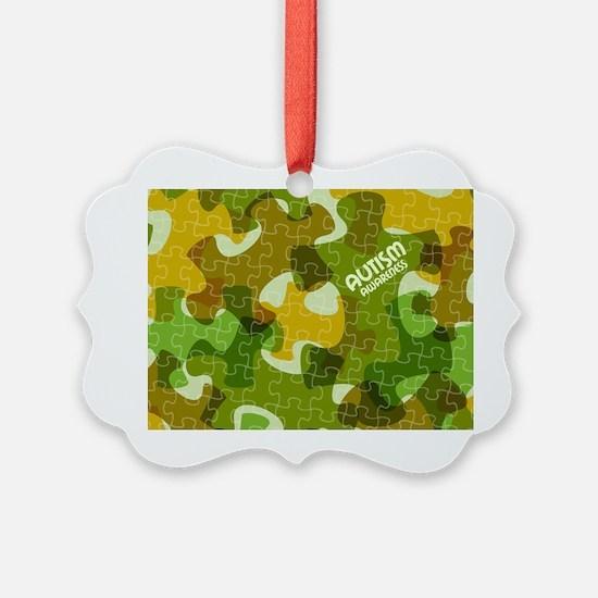 Autism Awareness Puzzles Camo Ornament