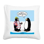 Penguin Goofball Square Canvas Pillow