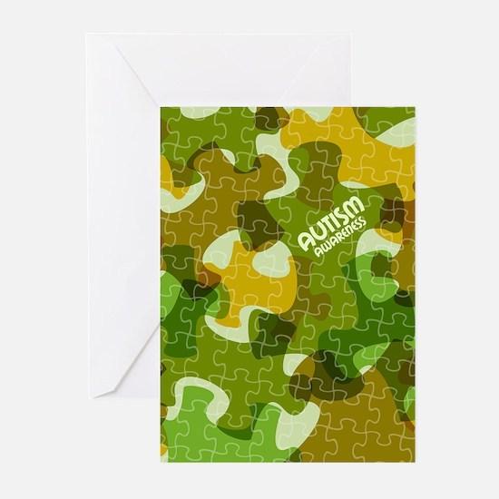 Autism Awareness Puzzles Camo Greeting Cards