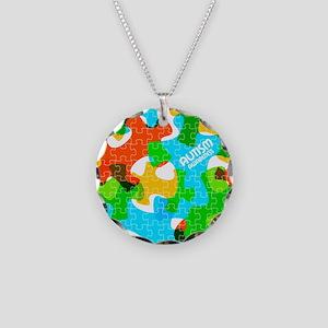 Autism Awareness Puzzles Necklace Circle Charm
