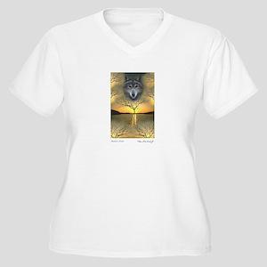 Wolf ~ Women's Plus Size V-Neck T-Shirt (2 Sides)