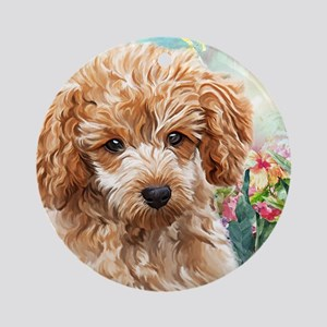 Poodle Painting Round Ornament