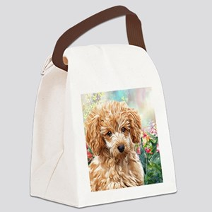 Poodle Painting Canvas Lunch Bag