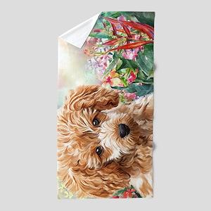 Poodle Painting Beach Towel