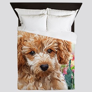 Poodle Painting Queen Duvet