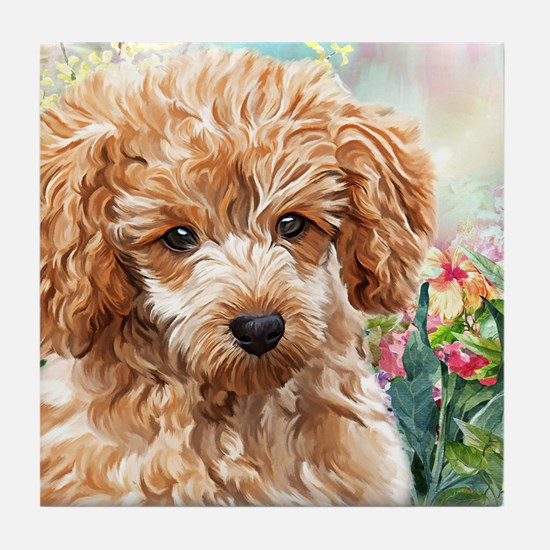Poodle Painting Tile Coaster