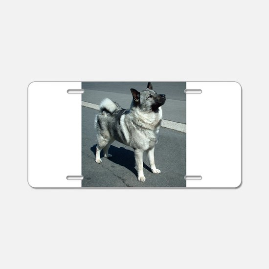 norwegian elkhound full 5 Aluminum License Plate