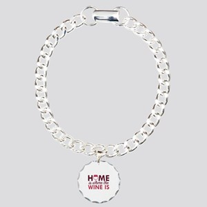 Home Is Where The Wine Is Charm Bracelet, One Char