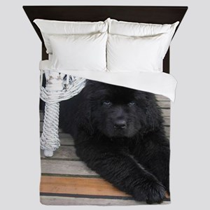 newfie 3 puppy Queen Duvet