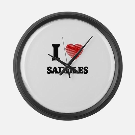 I Love Saddles Large Wall Clock