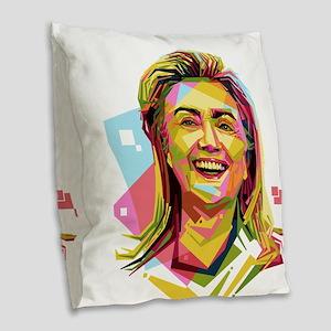 pastel hillary clinton Burlap Throw Pillow