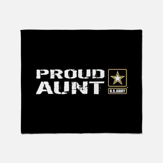 U.S. Army: Proud Aunt (Black) Throw Blanket