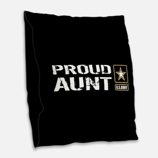 U.S. Army: Proud Aunt (Black) Burlap Throw Pillow